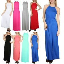 Womens Ladies Jersey High Halter Neck Puff Ball Balloon Bubble Swing Maxi Dress