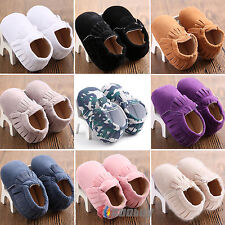 Infant Baby Kids Prewalker Soft Sole Moccasin Boy Girl Suede Crib Shoes 0 - 18 M