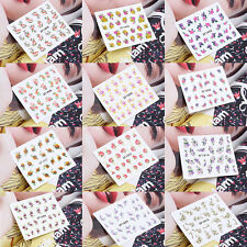 3D Fashion Design Nail Art Manicure Tips Sticker Decal Wraps DIY Flower Nail F7