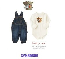 Gymboree baby boys Denim overalls, Bodysuit set 12-18m