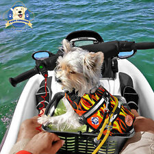 PAWS ABOARD Dog Life Jacket X-Small Boat Swim Vest Racing Flames 7-15 lbs XS NEW