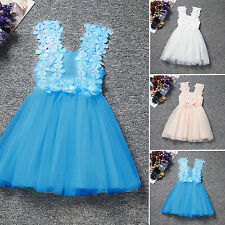 Baby Girls Lace Formal Party Dress Kids Wedding Bridesmaid Sundress Flower Gown