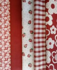 POLYCOTTON FABRIC BUNDLE RED WHITE 5PC PATCHWORK QUILTING CRAFT BUNTING