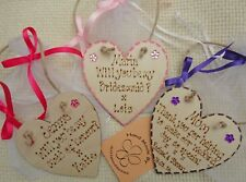 PERSONALISED WEDDING HEART IN ORGANZA GIFT BAG THANK YOU BRIDESMAID GIFTS