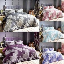 LUXURY DAMASK DUVET COVER SET WITH PILLOW CASE BEDDING SET SINGLE DOUBLE KING