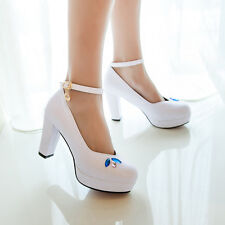 Fashion Womens Ladies High Rough Heels Platform Ankle Straps Shoes Pump NDX327