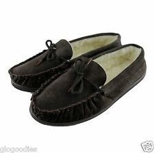 Mens Hardsole Brown Lambswool Moccasins - Extra Thick Sole - Wool Lined Slippers