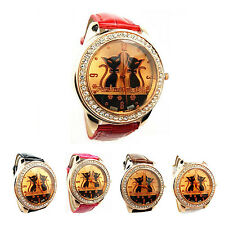 Rhinestone Double Cats Decoration Wrist Watch Black WS
