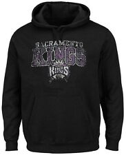 Sacramento Kings NBA 3 Hit Distressed Pullover Hoodie Black Big & Tall Sizes