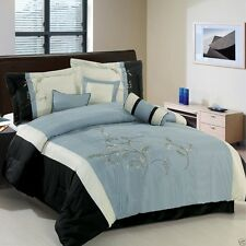 7pc KING Santa Fe Blue and White Bedding Comforter Set AND Deco Pillows