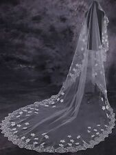New 3M Custom New Lace Applique Wedding Veil White/Ivory Cathedral Length Bridal