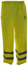MENS WORKWEAR SAFETY HIGH VIS VIZ SAFETY REFLECTIVE WATERPROOF OVER TROUSER PANT