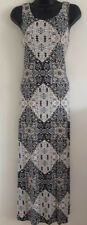 EX WALLIS Size: 8-18 Geometric Print Beige Black Stone Summer Holiday Maxi Dress