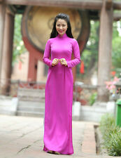 New AO DAI VIETNAM CUSTOM MADE, Purple Silk Dress, White Satin Pant, V Neck