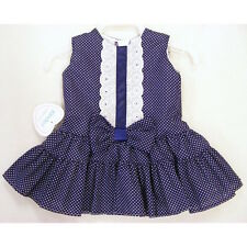 Baby Girls Spanish Style Navy/White Spotted Bow Dress 0-6 6-12 Month