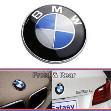 NEW Car Emblem Logo For BMW 2 Pins Front Hood Badge 82mm / Rear Trunk 74mm