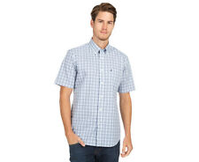 Nautica Men's Short Sleeved Plaid Shirt - Blue/White