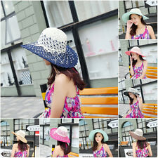 Women Wide Brim Cap Foldable  Wide brim Beach Hat Summer Sun Straw Hats Bowknot