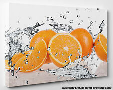 X LARGE CANVAS Orange Fruits & Splashing Water Abstract Wall Art A1 A2
