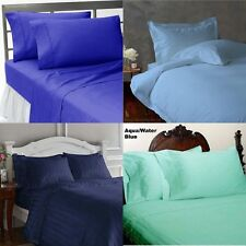 BRITISH 1000TC 3PC DUVET SET IN BLUE SHADES 100% COTTON CHOOSE SHADE & PATTERN