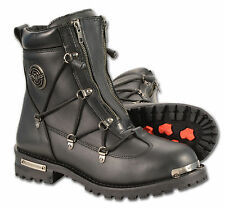 Mens Black Leather Stealth Boot w/ Double Entry Zippers & Lace Side Accent