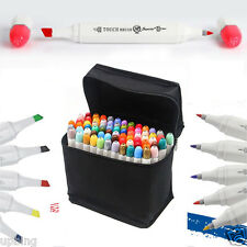 60 Colors Set Superior Alcohol Graphic Art Twin Tip Pen Markers Broad Fine Point