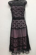 New Ladies Evening Black/Pink Lace Dress - Ajoy - Size 8 Goth Emo