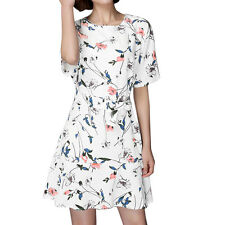 Woman Floral Prints Flouncing Hem Belted Tunic Dress