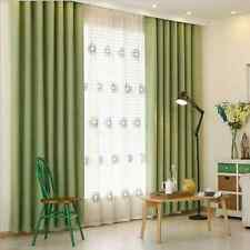 QUALITY 80% BLOCKOUT EYELET CURTAINS BEDROOM LIVING ROOM GREEN NATURAL CURTAIN