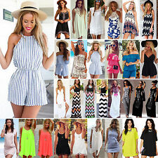 Summer Womens Sexy Mini Playsuit Jumpsuits Shorts Beach Sun Dress Maxi Dress Top