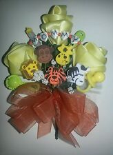 Baby shower MOMMY monkey giraffe zebra lion tiger corsage jungle theme