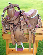 """10"""" 12"""" Western Youth Saddle Natural Med Oil Tooled PINK GATOR Seat HSBC Just In"""