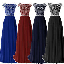 Beaded Chiffon Long Bridesmaid Evening Formal Gown Party Ball Prom Wedding Dress