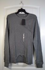 NWT MEN'S GUESS CHARCOAL HEATHER THERMAL LONG SLEEVE CREW NECK TSHIRT SZ M