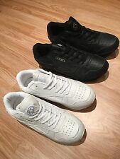 MENS BLACK AND WHITE TRAINERS LACE SPORTS  WIDE SHOES CASUAL SIZE 7 8 9 10 11