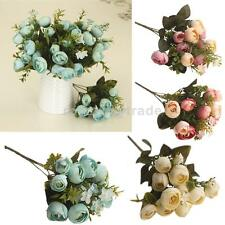 Artificial 5-Fork Silk Tea Rose Blooming Flower Bouquet Home Party Chic Decor