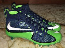 NEW Mens 9 NIKE Vapor Untouchable TD Mid Blue Lime Green Flyknit Football Cleats