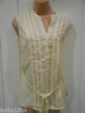 TU Yellow Pin Tuck Pure Linen Office Party Casual Blouse Tunic Top (NEW) Size:14