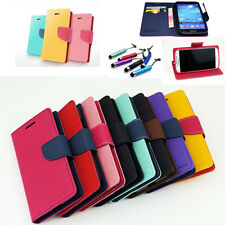 Luxury Dual Color Card Hoder Wallet Leather Flip Case Stand For Samsung+Gift New