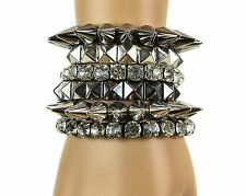 Spike Stud Rhinesone Stretch Bracelet Punk Goth Sexy Fetish Hottest