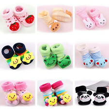 NEW 0-12 Month Cartoon Newborn Baby Girl Boy Anti-Slip Socks Slipper Shoes Boots