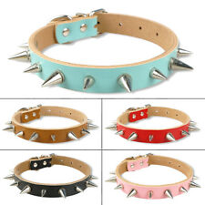 Soft Spiked Studded PU Leather Dog Puppy Pet Collars 10-18'' Soft For Pet S/M/L