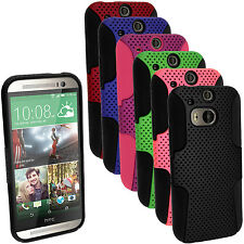 Silicone Skin Gel Case Cover & PC Mesh for HTC One M8 2014 + Screen Protector
