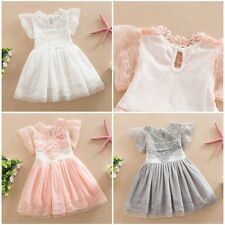 Summer Short Sleeve Kids Baby Girls Tulle Lace Floral Princess Party Dress 2-7Y