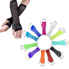1Pair Fishnet Gloves Length 70s 80s Fingerless Women's Lace Dance Costume