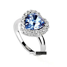 18K White Gold Plated Blue SWAROVSKI ELEMENTS CRYSTAL Ocean Heart Ring R513
