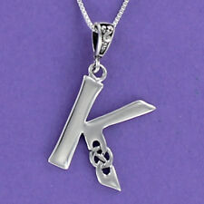 Letter K Celtic Knot Pendant Sterling Silver 925 on 18-inch Chain Initial