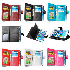 For Iphone 6S Plus 5S SE PU Leather Credit 9 Card Holder Wallet Flip Case Cover