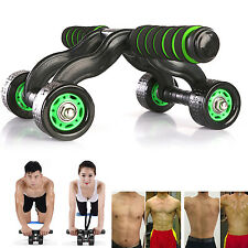 4-Wheel Roller for Abdominal Fitness Exercise Perfect Home Gym With Knee Mat