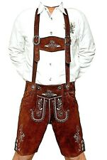 MEN SHORT LENGTH BAVARIAN LEDERHOSEN BROWN 44-58